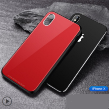 Ins V-72 Surface Glass back mirror treatment silicone anti-fall super thin IPHONE X case cover- Red