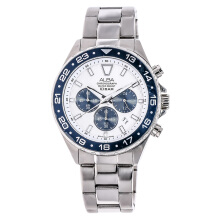 Alba Chronograph White Patterned Dial Stainless Steel Bracelet [AT3909X1] Silver