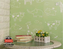 LUXURIOS - Wallpaper Stiker LUX 5-66PRB - uk 45cm x 5m - Motif karakter kartun - Hijau Light Green