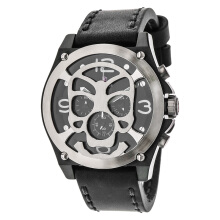 Expedition Chronograph Man Black Dial Black Leather Strap [EXF-6699-MCLTBBASL]