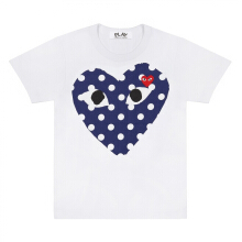 COMME des GARCONS Play T-Shirt with Polka Dot Big Heart (White) - M
