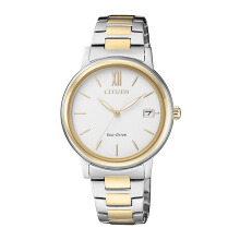 CITIZEN Eco Drive Watch - Silver Gold Strap/White Gold Dial 33.4mm Ladies [FE6094-84A]