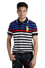 POLO RALPH LAUREN - Custom-Fit Striped Polo Lacoste Black-White-Blue Men