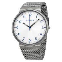 Skagen Ancher White Dial Stainless Steel Mesh Man Watch [SKW6163]
