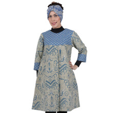 SHE BATIK Dress Batik Pias Lawasan Kombinasi - Blue Grey