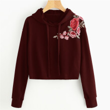 BESSKY Women Hoodie Sweatshirt Jumper Sweater Crop Top Embroidery Pullover Tops _