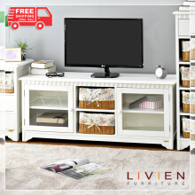 Lemari Meja Rak TV Rattan Series - Rotan - LIVIEN FURNITURE