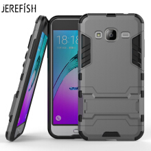 JEREFISH New Armor Case 2 in 1 For Samsung J3 2016 Duty Hybrid Rugged Silicone Case with Stand Rugged Impact Hard Cover Case