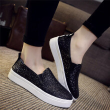 BESSKY Women's Spring Casual Flat Shoes Slip-On Sequins Loafer Shoes_