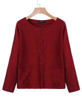 Zanzea 0051Loose Women Double Pocket Long Sleeve Solid Color Cardigans Wine Red M
