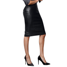 Fashionmall Kenancy Women's Fake Leather PU High Waist Slim Pencil Skirt