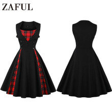 Fashionmall ZAFUL 007 Vintage Dress with Button Print Swing Party dress