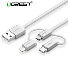 UGREEN Lightning Cable for Apple iPhone, Samsung, Xiaomi Redmi ASUS Zenfone,, 1Meter Micro USB Cable, 3 in 1 Type C Multi USB Charger USB Data Lead Syncing and Charging Cord White