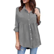 BESSKY Womens Plus Size Solid Long Sleeve Casual Chiffon Ladies OL Work Top T Shirt_