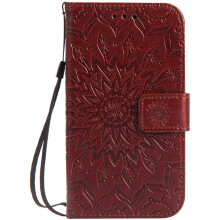 Sannic Nokia 6 Phone Case Sun Flower PU Leather Casing Emboss Flip PU Leather Stand Cover Cases