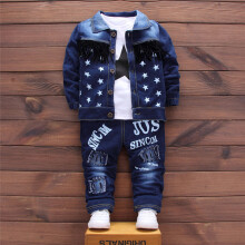 BESSKY Infant Baby Kids Girls Boys Letter Demin Coat Tops Pants 3Pcs Set Outfit Clothes _