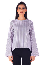 HILS THE LABEL Oversized Stripes Tops - Blue