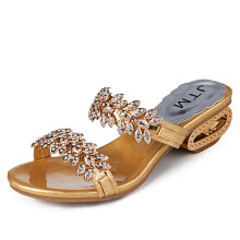 BESSKY Women Rhinestone Slipper Sexy High Heels Sandals Crystal Party Shoes Flip Flops_