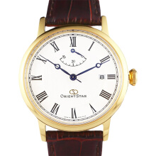 Orient Star Automatic White dial Brown Leather Strap [SEL09002W] Coklat