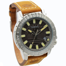 Timberland Leather Strap Mens 14647JS-13-1630D45CKTTSL Analog Coklat Tua Hitam Dark Brown