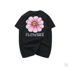 Ins V-265 Siberia Fashion T-shirt with Big flowers design-Black XL
