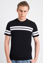 One Hours Stripe T-Shirt Men - Black