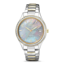CITIZEN Eco Drive Watch - Silver Gold Strap/Blue Pearl Dial 34mm Ladies [EO1184-81D]