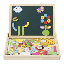 ANAK Magnetic Drawing Board Game Double Sided Blackboard Wooden Jigsaw Puzzles Wooden Educational Toys Multicolor