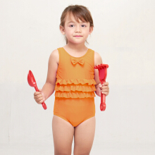 LEE VIERRA - Kids Orange Ruffle Waist Leotard