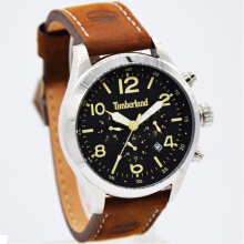 Timberland Leather Strap Mens 15249JS-02-1606D43CKTTSL Analog Chronograph Coklat Silver Brown