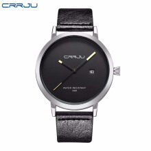 CRRJU Men Watches Classic Sport Man Watches Simple Style Leather Watches Casual Bussiness Male Clock Sport Quartz Wristwatch