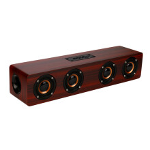 BESSKY Wireless Bluetooth Speaker Super Bass Stereo Speaker Retro Wood Speaker_ Brown