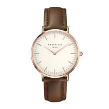 ROSEFIELD The Bowery Rose Gold White Dial Watch with Brown Strap [BWBRR-B3]