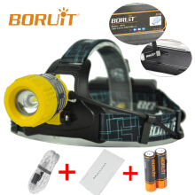 Boruit B11 XM-L T6 LED Headlamp Rechargeable Zoomable Head Light Headlight Torch Micro USB yellow Cable 2x18650 PCB Batteries