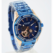 Balmer Shappire Crystal Stainless Steel Chain Ladies B.7981LBL-2280D37RGBR Small Second Rosegold Blue Blue