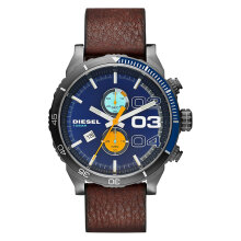 Diesel Double Down 2.0 Chrono Blue Dial Brown Leather Strap Watch [DZ4350] Coklat