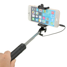 FLOVEME Mini Universal Wired Selfie Stick for iPhone Samsung Xiaomi Huawei Black