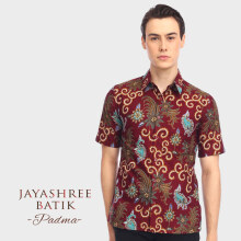 JAYASHREE BATIK Slim Fit Short Sleeve Padma - Maroon