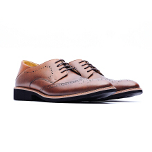 09462-Derby Brogue Shoes In Waxed Leather With Embossed Panels-Brown