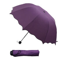8 Ribs Flouncing Lace Sunny And Rainy Umbrella Three Folding Arched Parasol Purple