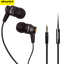 OAC-AWEI ES-800i Metal Earphone Headphones For Mobile Phone HIFI Headset With Microphone In-Ear Earpiece Super Bass Stereo Sound Black