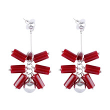 VOITTO Fashion Jewelry Vonly Tube Stack V7 Earrings [Maroon]