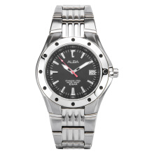 Alba Man Black Pattern Dial Stainless Steel Watch [AXHD43X1] Silver