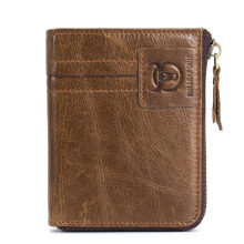 Bullcaptain Leather Wallet Vintage Zipper Card Holder for Men -Brown