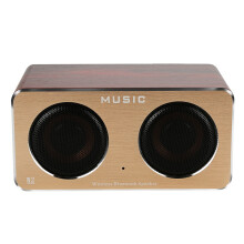 BESSKY Retro Wood Wireless Bluetooth Speaker Portable HiFi Speaker Bluetooth 3D Dual Loudspeakers USB Charging_ Brown