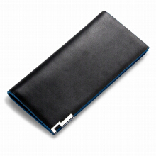 Baellerry men's original imported leather wallet long wallet large capacity blue edge wallet Korean fashion wallet black
