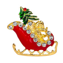 [COZIME] Christmas Sled Brooch Delicate Alloy Crystal Rhinestone Pin Jewelry Gift Multi-Color