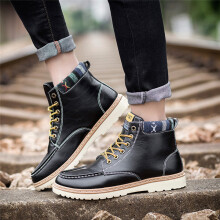 BESSKY Men's Autumn Casual High-top Shoes Lace-up Outdoor Martin Boots_