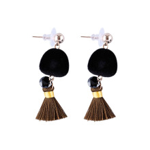 VOITTO Fashion Jewelry Vonly Pompom Tassel V19 Earrings [Black]