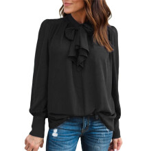 BESSKY Women Casual Chiffon Long Sleeve Solid Bow Tops T-Shirt Blouse _